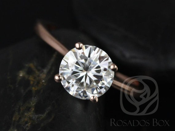 2ct Skinny Flora 8mm 14kt Rose Gold Forever One Moissanite Dainty Cathedral Round Solitaire Engagement Ring,Rosados Box