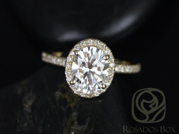 1.50ct Chantelle 8x6mm 14kt Solid Gold Oval Forever One Moissanite Diamond Micropave Halo Dainty Engagement Ring,Rosados Box