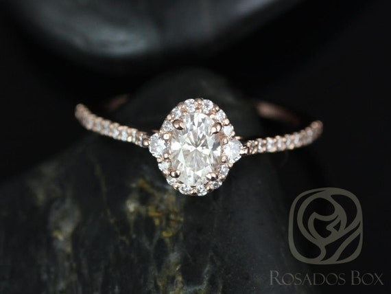 0.50ct  Bridgette 6x4mm 14kt Solid Rose Gold Forever One Moissanite Diamonds 3 Stone Unique Oval Halo Engagement Ring,Rosados Box