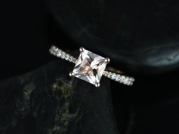 Rosados Box Taylor 6mm 14kt Rose Gold Princess Morganite and Diamonds Cathedral Engagement Ring