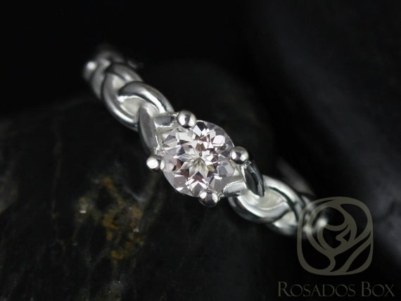 Rosados Box Prudence 5mm 14kt White Gold Round White Topaz Braided Engagement Ring