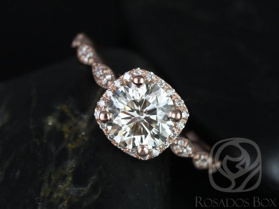 Rosados Box Ready to Ship Christie 7mm 14kt YELLOW Gold Forever One Moissanite Diamond Halo WITH Milgrain Engagement Ring
