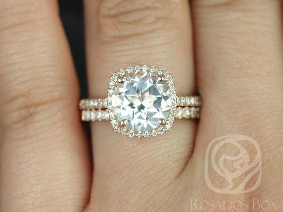 Rosados Box 9mm 14kt Rose Gold Round White Topaz and Diamonds Cushion Halo Wedding Set