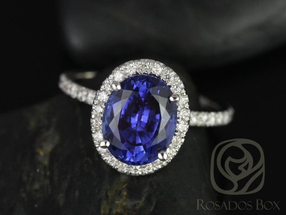 Chantelle 10x8mm 14kt Solid White Gold Oval Blue Sapphire Diamond Dainty Micropave Halo Engagement Ring,Rosados Box