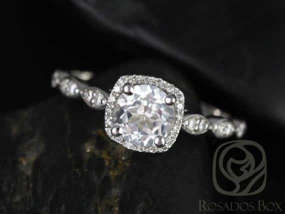 Rosados Box Christie 6mm 14kt White Gold Round White Topaz and Diamond Cushion Halo WITHOUT Milgrain Engagement Ring
