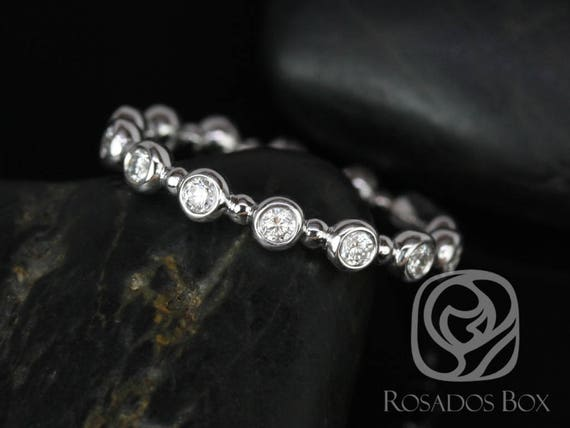Rosados Box CONFLICT FREE Macy 14kt White Gold Round Bezel & Dot Diamonds ALMOST Eternity Band