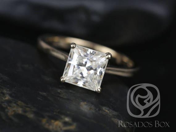 SALE Rosados Box Ready to Ship Florentine 7mm 14kt Yellow Gold Princess FB Moissanite Tulip Cathedral Solitaire Engagement Ring