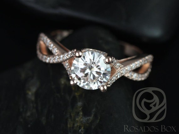 Rosados Box Emma 7mm 14kt Rose Gold Round F1- Moissanite & Diamonds Pave Engagement Ring