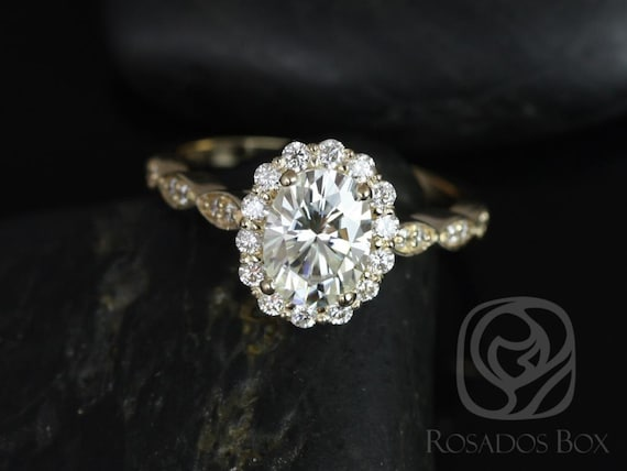 Rosados Box Jubilee 8x6mm 14kt Gold 1.50ct Forever One Moissanite Diamond Art Deco Scalloped Oval Halo WITHOUT Milgrain Engagement Ring