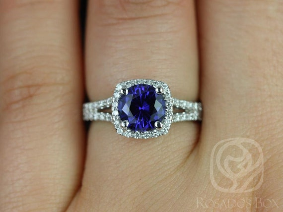 Rosados Box Pasley 7mm 14kt White Gold Blue Sapphire and Diamonds Cushion Halo Split Engagement Ring
