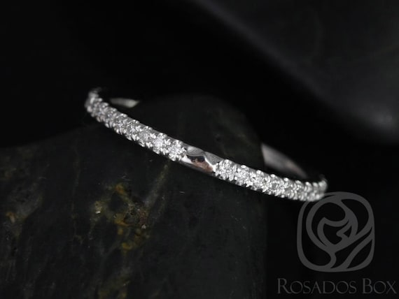 Thin Diamond Notched Band to Eloise 8mm ALMOST Eternity Ring,14kt White Gold,Rosados Box