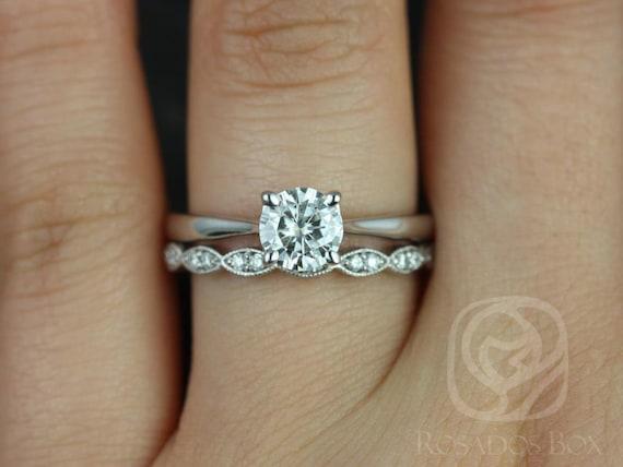 0.75ct Flora 6mm & Christie 14kt White Gold Forever One Moissanite Diamond Art Deco Round Solitaire Wedding Set Rings,Rosados Box