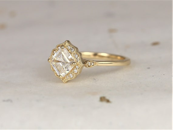 1.30ct Leena 6.5mm 14kt Solid Gold Forever One Moissanite Diamond Art Deco Asscher Kite Halo WITH Milgrain Engagement Ring,Rosados Box