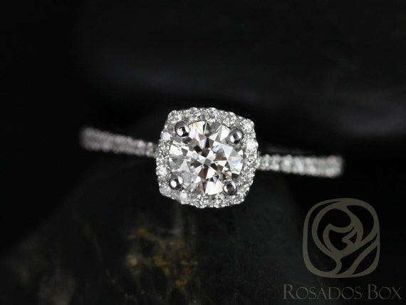 Samina 1/2ct 14kt White Gold Conflict Free Diamond Dainty Micropave Cushion Halo Diamond Engagement Ring,Rosados Box