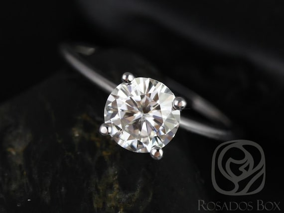 1.25ct Skinny Alberta 7mm 14kt White Gold Forever One Moissanite Dainty Round Solitaire Engagement Ring,Rosados Box