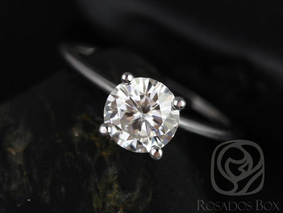 Ready to Ship Skinny Alberta 7mm 14kt White Gold Forever One Moissanite Dainty Round Solitaire Engagement Ring,Rosados Box