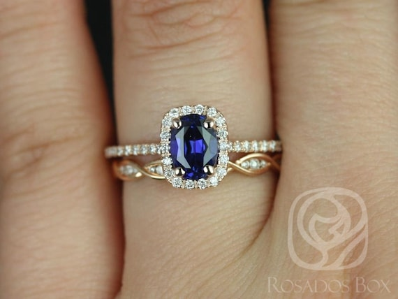 Rosados Box Romani 7x5mm & Ember 14kt Rose Gold Oval Blue Sapphire and Diamonds Cushion Halo Wedding Set