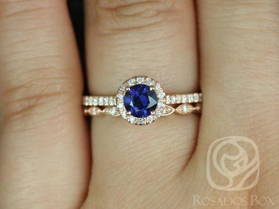 0.63ct Round Blue Sapphire Diamonds Art Deco Wedding Set Rings Rings,14k Rose Gold,Ready to Ship Kubian 0.63cts & Ult Pte Leah,Rosados Box