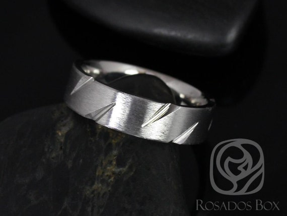 Rosados Box Hunter 6mm Cobalt Slashed Straight Pipe Matte Finish Band