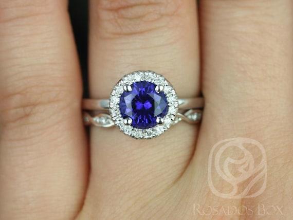 Rosados Box Katie 7mm & Ember 14kt White Gold Round Blue Sapphire Diamond Halo Wedding Set Rings