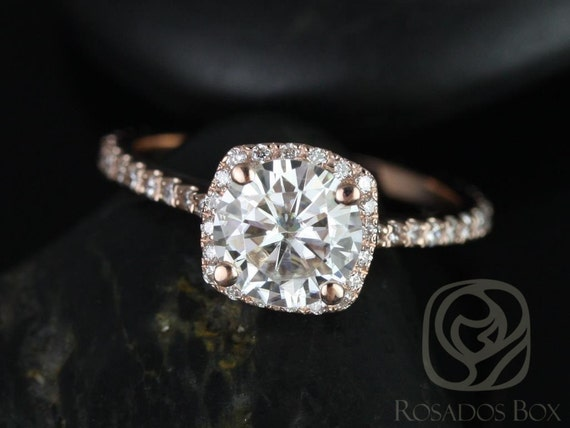 1.25ct Samina 7mm 14kt  Rose Gold Round Forever One Moissanite Diamonds Dainty Micropave Cushion Halo Engagement Ring,Rosados Box