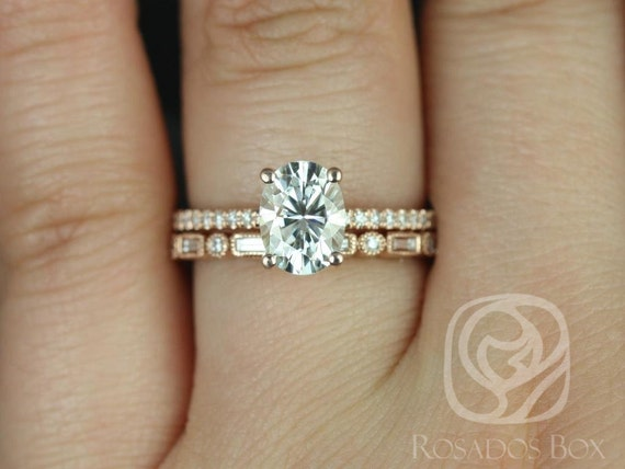 1.50ct Oval Forever One Moissanite Diamonds Art Deco Solitaire Wedding Set Rings,14kt Solid Rose Gold,Darcy 8x6mm & Ivanna,Rosados Box