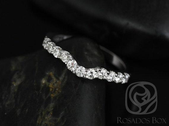 Rosados Box 14kt White Gold Matching Band to Trisha 6.5mm Diamonds HALFWAY Band