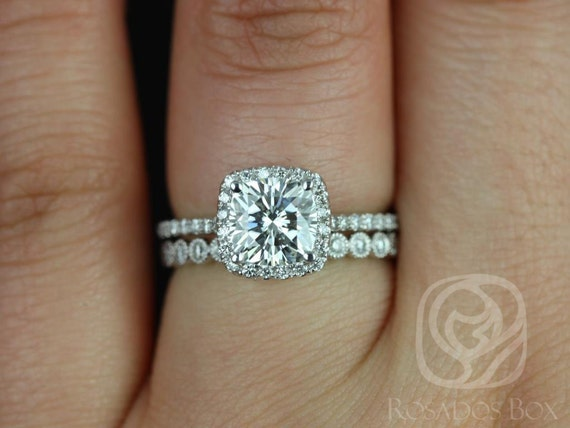 1.30ct Cushion Forever One Moissanite Diamond Thin Pave Halo Wedding Set Rings,14kt White Gold,Catalina 6.5mm & Petite Bubbles,Rosados Box
