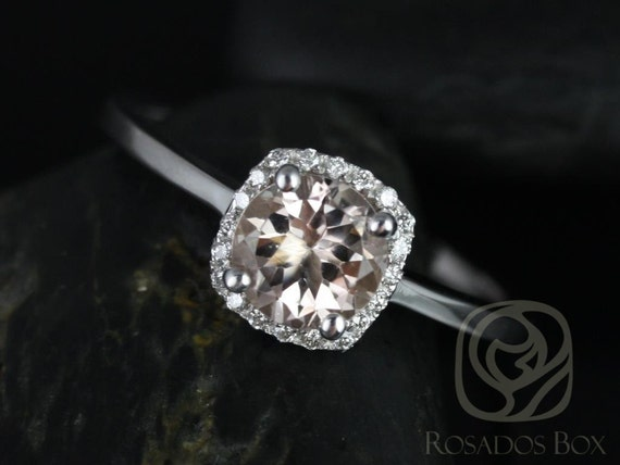 Rosados Box Bella 6mm 14kt White Gold Morganite and Diamond Cushion Halo Plain Band Engagement Ring