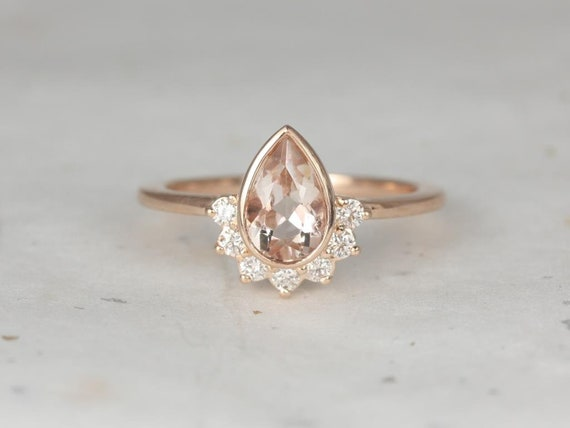 8x5mm Pear Morganite Diamonds Bezel Crescent Sunrays Half Halo Engagement Ring,14kt Solid Rose Gold,Oana 8x5mm,Rosados Box