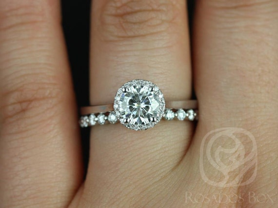 1ct Ready to Ship Amerie 6.5mm & Petite Naomi 14kt White Gold Forever One Moissanite Diamond Round Halo Wedding Set Rings,Rosados Box
