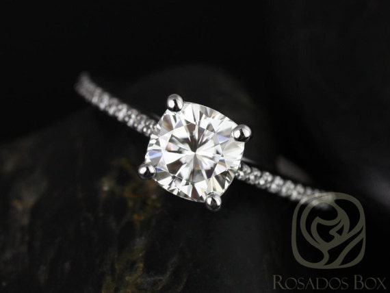 Rosados Box Marcelle 6.5mm Platinum Cushion Forever One Moissanite and Diamonds Cathedral Engagement Ring