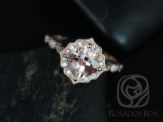 Rosados Box Ready to Ship Lucille 7mm 14kt Rose Gold Cushion Morganite and Diamond Kite Halo WITH Milgrain Engagement Ring