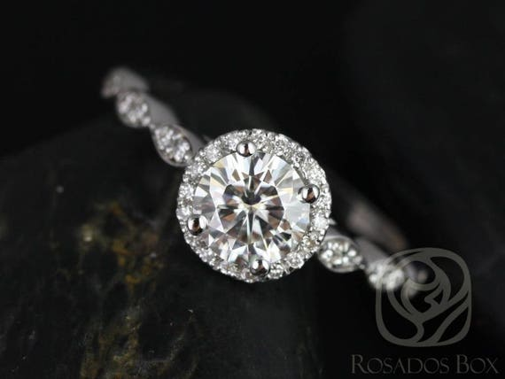 SALE Rosados Box Ready to Ship Samantha 6mm 14kt White Gold Round FB Moissanite & Diamond  WITHOUT Milgrain Halo Engagement Ring