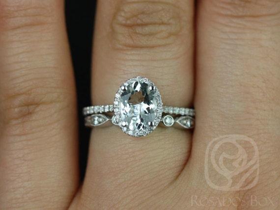Rebecca 8x6mm & Bead Eye 14kt White Gold White Sapphire Diamonds Dainty Art Deco Halo Wedding Set Rings,Rosados Box
