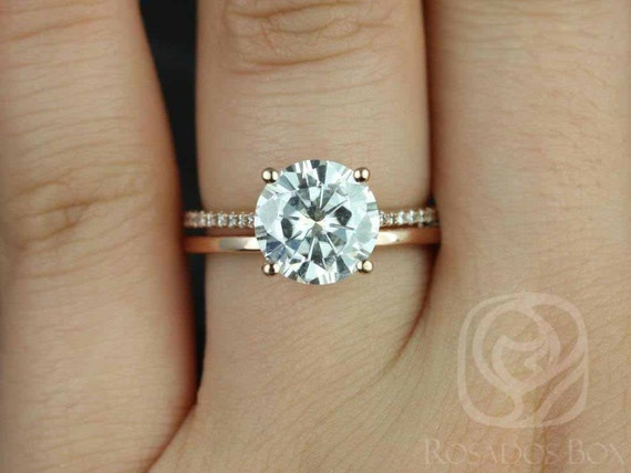 2.70ct Round Forever One Moissanite White Sapphire Cathedral Wedding Set Rings,14kt Rose Gold,DIAMOND FREE Eloise 9mm & Plain Bd,Rosados Box