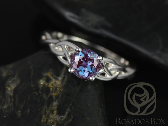 Cassidy 6mm 14kt Solid White Gold Round Alexandrite Celtic Love Knot Triquetra Engagement Ring,Rosados Box