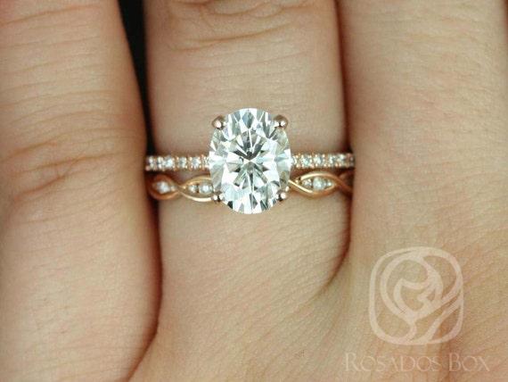 Rosados Box Hillary 9x7mm & Ember 14kt Rose Gold Oval Forever One Moissanite Diamond Basket Wedding Set Rings