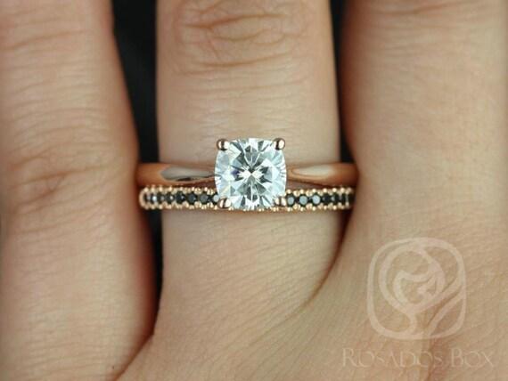 Rosados Box Florence 6.5mm & Kierra 14kt Rose Gold Cushion Forever One Moissanite Diamond Wedding Set Rings