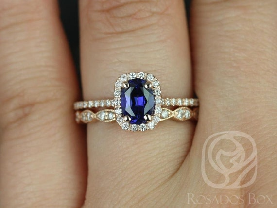 Rosados Box Romani 7x5mm & Christie 14kt Rose Gold Oval Blue Sapphire and Diamonds Cushion Halo Wedding Set