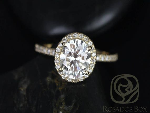 SALE Rosados Box Ready to Ship Chantelle 8x6mm 14kt Yellow Gold Oval FB Moissanite and Diamond Halo Engagement Ring