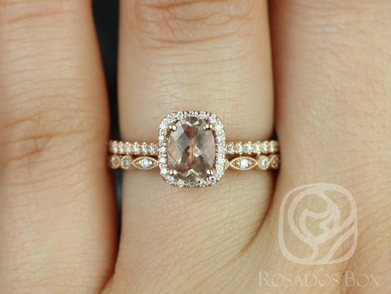 7x5mm Oval Sunstone Diamond Halo Wedding Set Rings Rings,14kt Solid Rose Gold,Romani 7x5mm & Gwen,Rosados Box