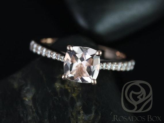 Rosados Box Taylor 7mm 14kt Rose Gold Cushion Morganite and Diamond Cathedral Engagement Ring