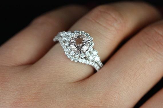 Round Morganite Diamonds Heart Cluster Halo 3 Stone Wedding Set Rings, 14kt Solid White Gold, Amora 7mm, Rosados Box