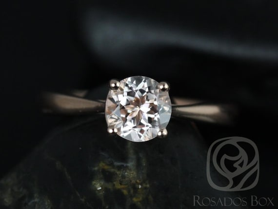 Rosados Box Flora 6mm 14kt Rose Gold Round Morganite Tulip Cathedral Solitaire Engagement Ring