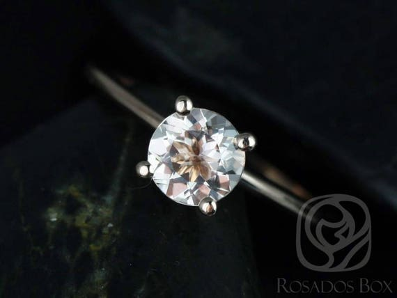 Rosados Box Ready to Ship Skinny Alberta 6mm 14kt WHITE Gold Round Morganite Tulip Solitaire Engagement Ring