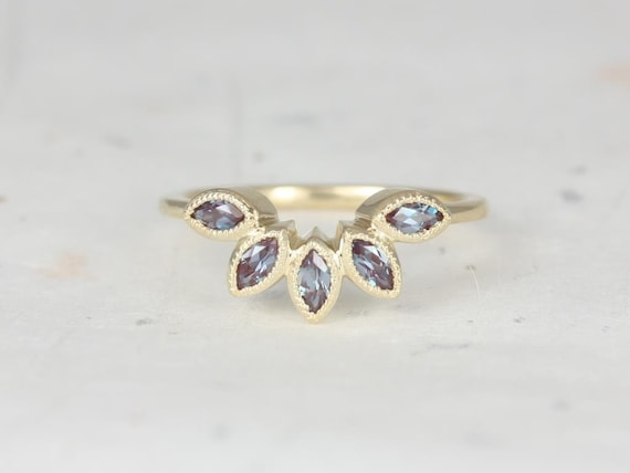 Rosados Box DIAMOND FREE Petunia 14kt Yellow Gold Alexandrite Leaves WITH Milgrain Tiara Ring
