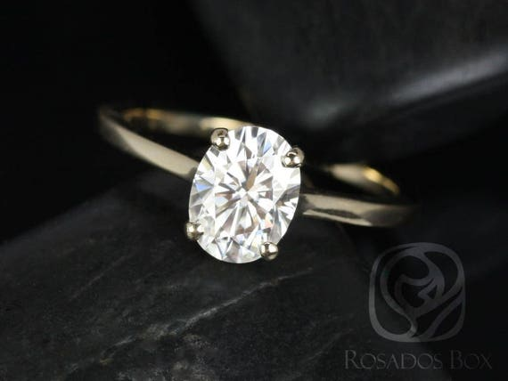 Rosados Box Delia 8x6mm 14kt Yellow Gold Oval F1-  Moissanite Extra Low Thin Skinny Engagement Ring