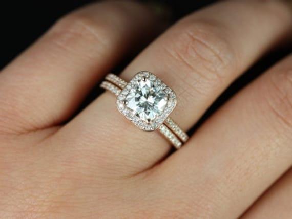 Rosados Box Camila 7mm 14kt Rose Gold Thin F1- Moissanite and Diamonds Cushion Halo Wedding Set