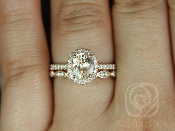 1.51ct Oval Champagne Peach Sapphire Diamonds Wedding Set Rings Rings, 14kt Rose Gold,Ready to Ship Federella 1.51cts & Christie,Rosados Box